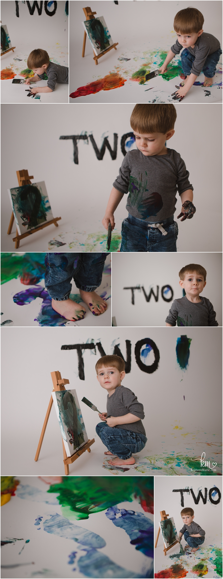 photography for 2nd birthday - paint smash