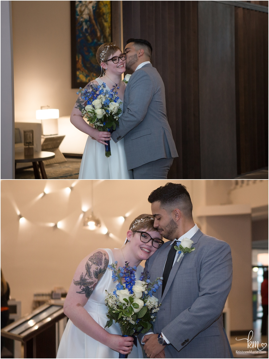 Bride and Groom inside Embasy Suites in Indianapolis - wedding photography
