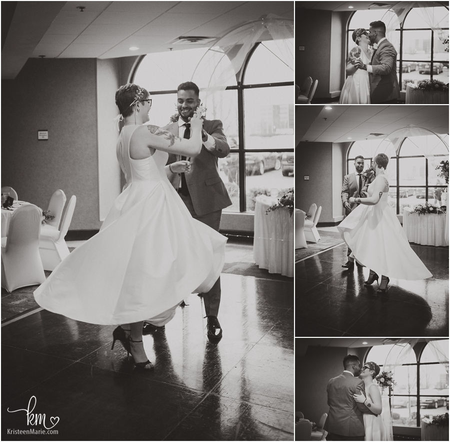 bride and groom daning their first dance