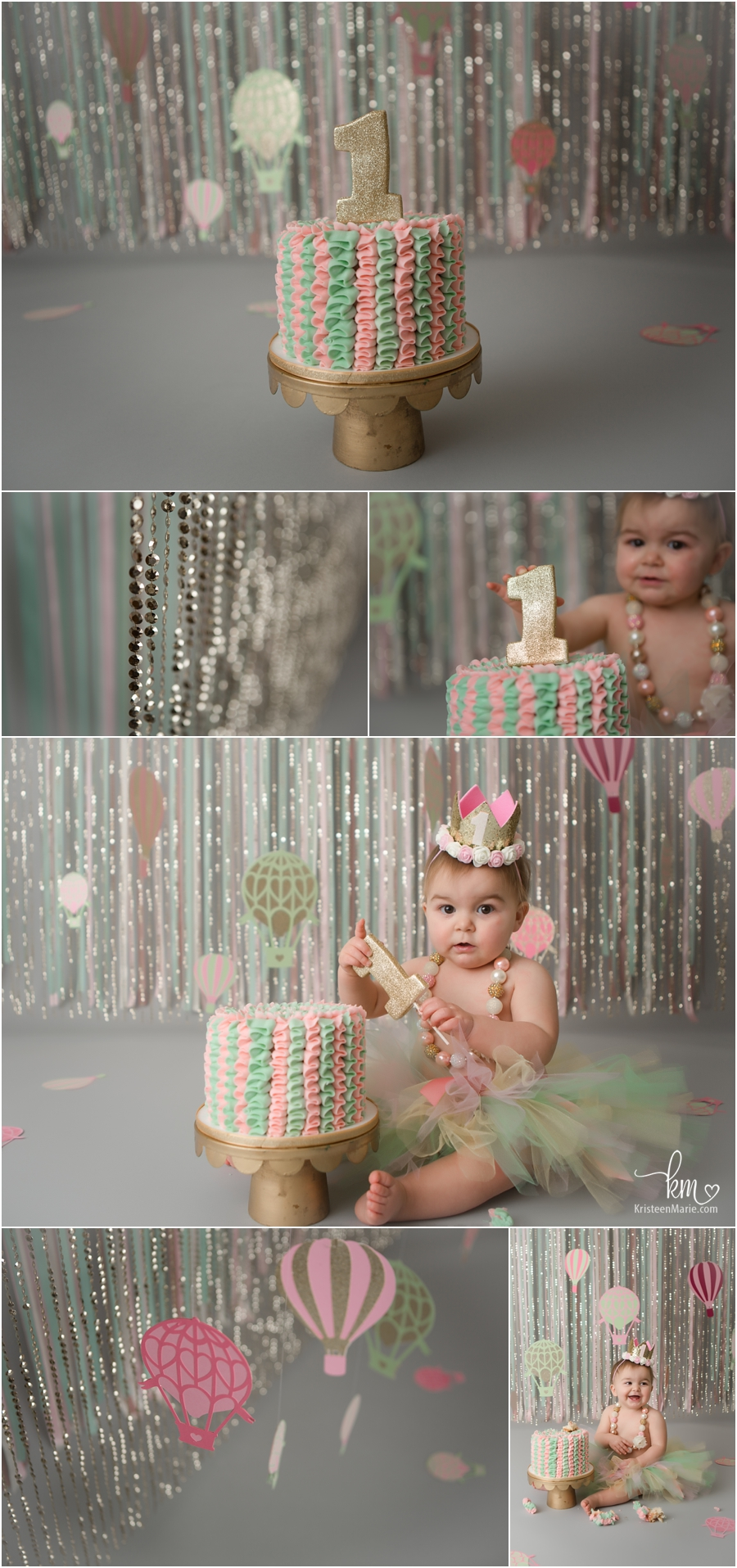 Pink, gold, and mint hot air balloon 1st birthday cake smash session - so cute!!