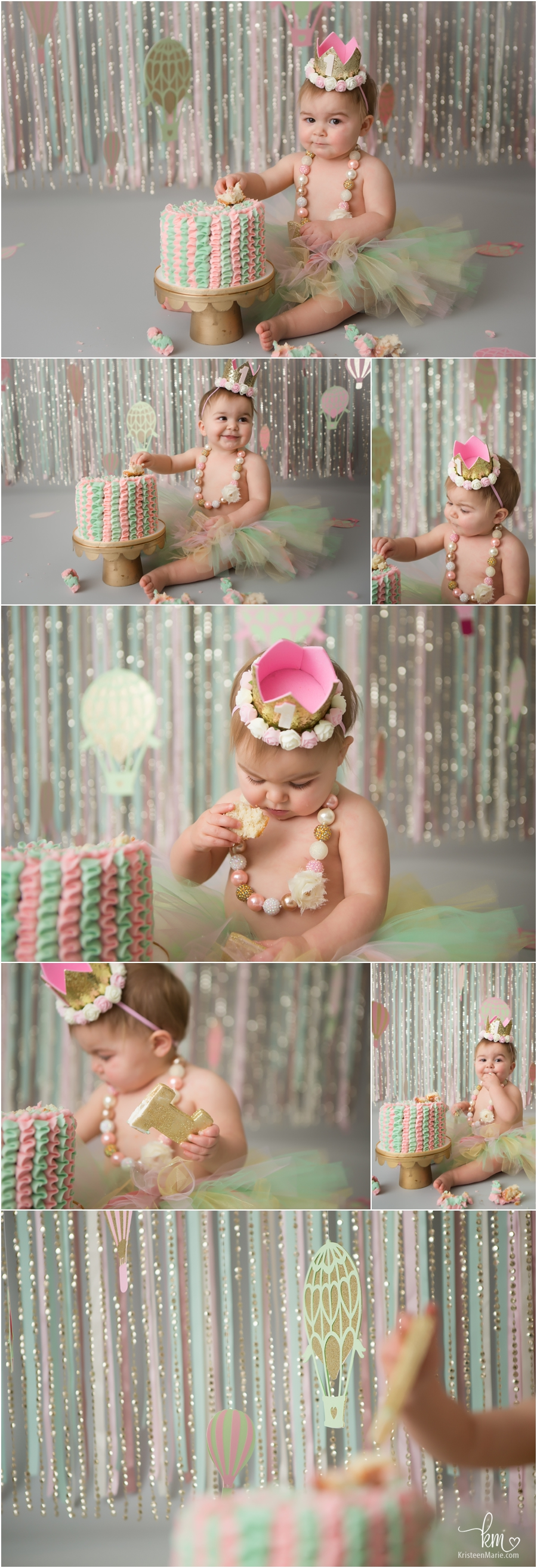 1st birthday cake smash session - teal pink and gold