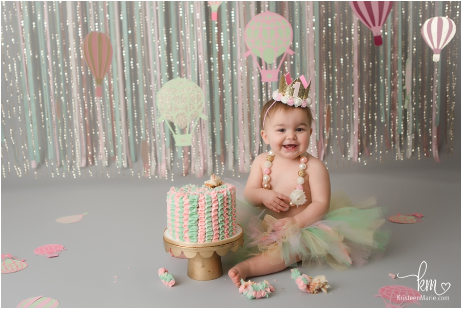 1st birthday cake smash photography in Indianapolis