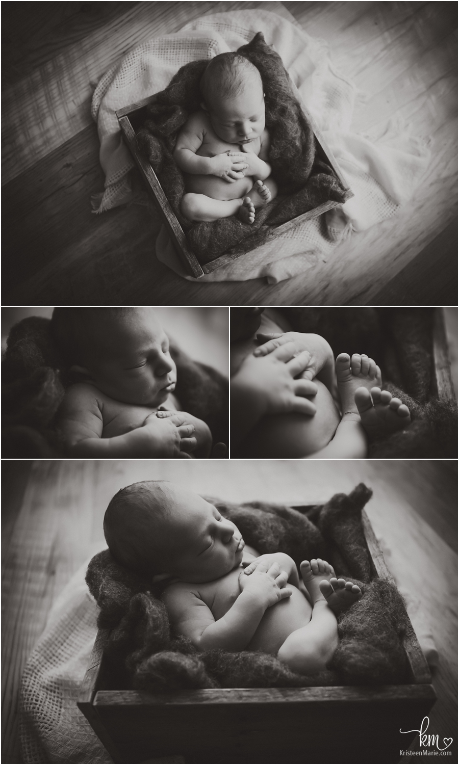 black and whate newborn pictures - baby features