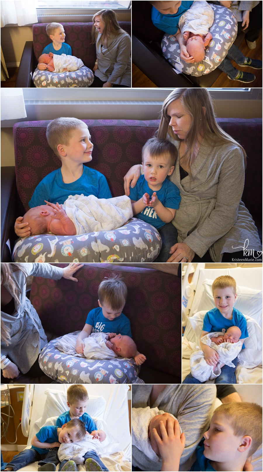 siblings holding baby sibling for first time in hospial