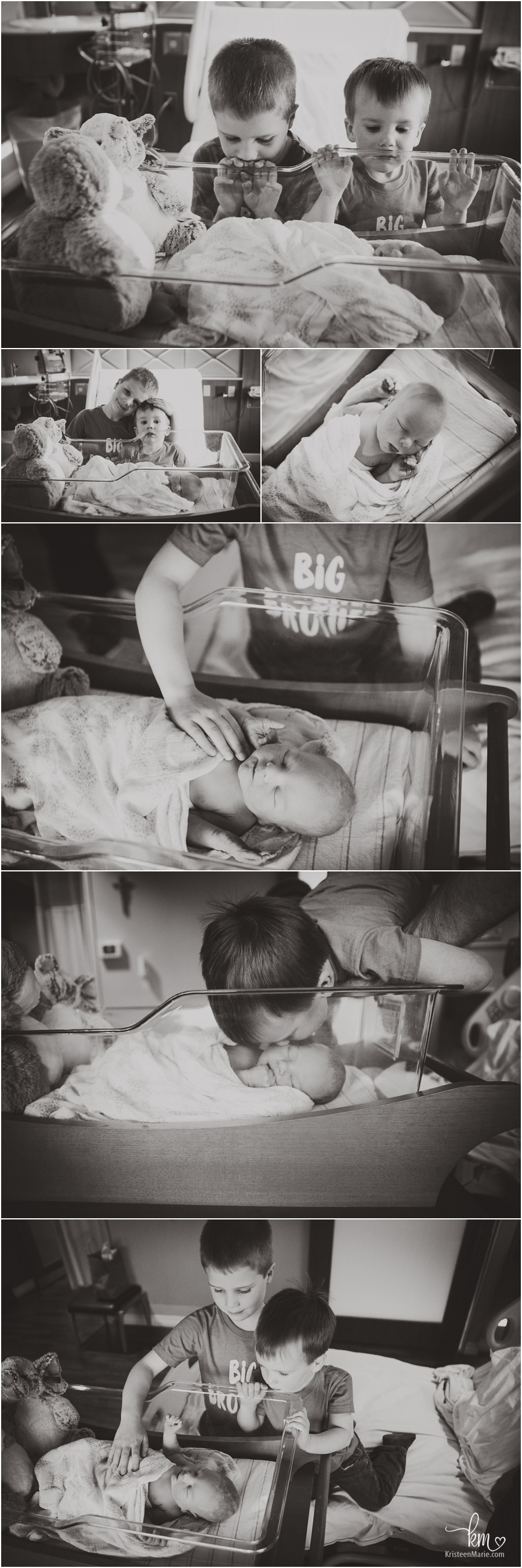 black and white images of meeting baby sibling for first time in hospital - Carmel Indiana Fresh 48 session