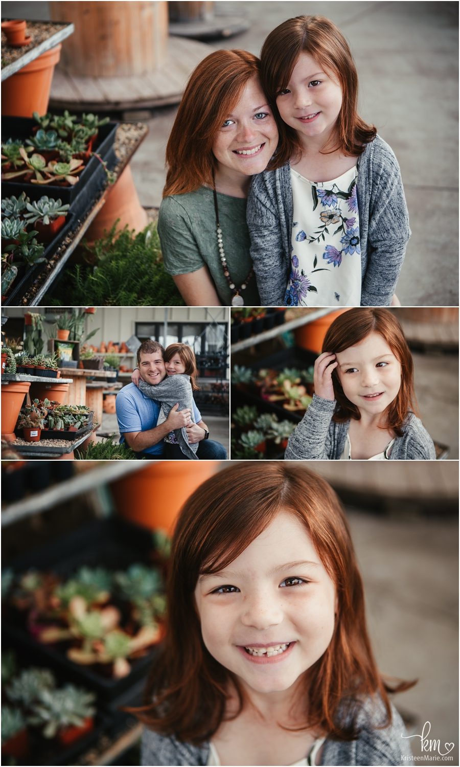 family pictures in greenhouse