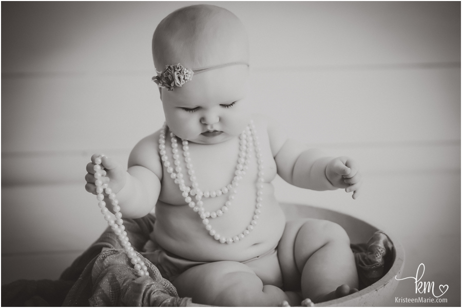 black and white baby girl photography