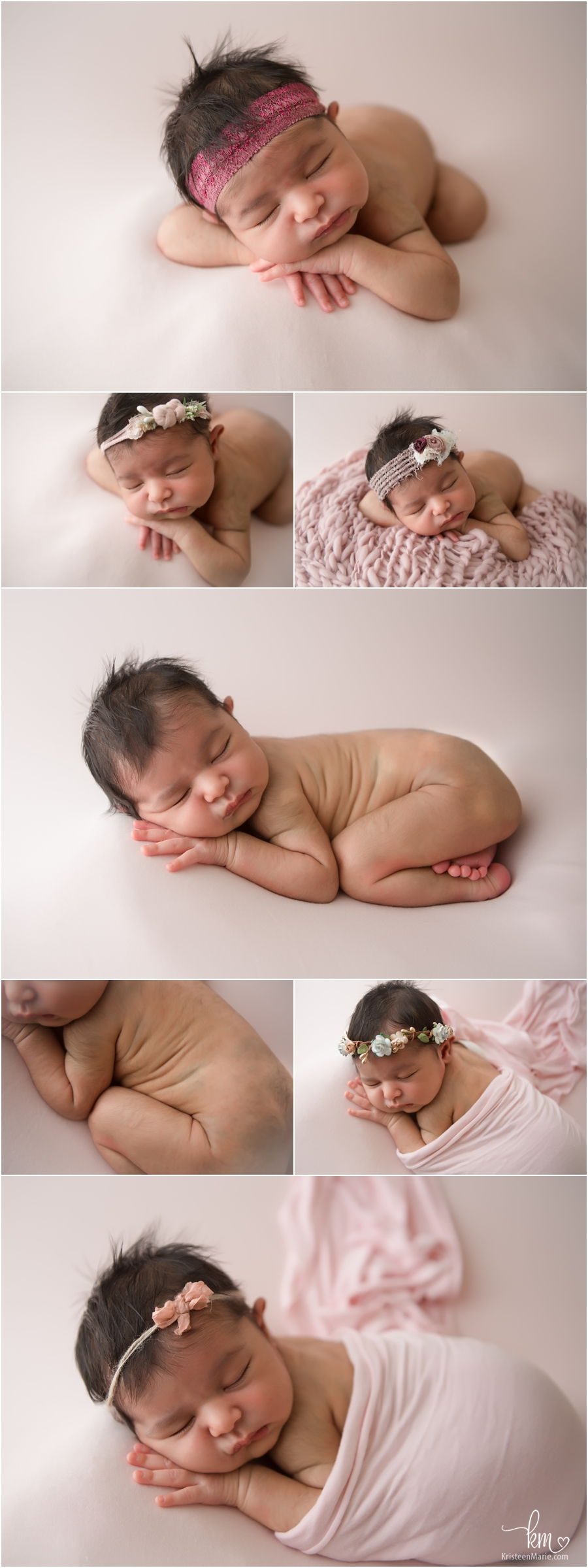 newborn girl in blush