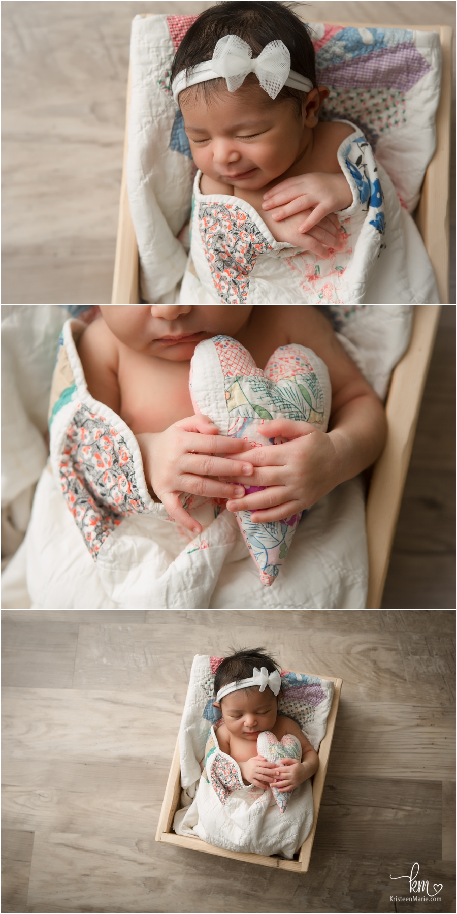 newborn girl in a box with a heart - so cute!!