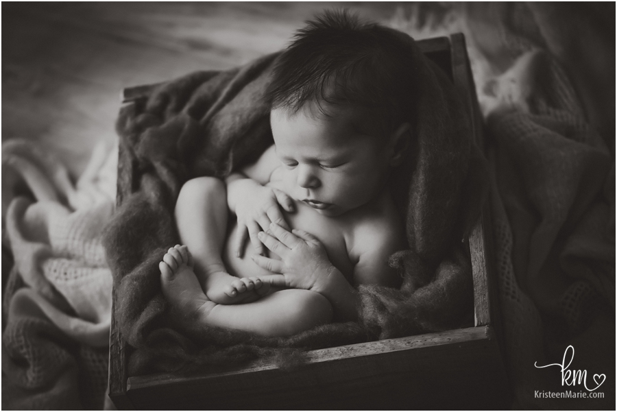 black and white newborn images - Indianapolis newborn photographer