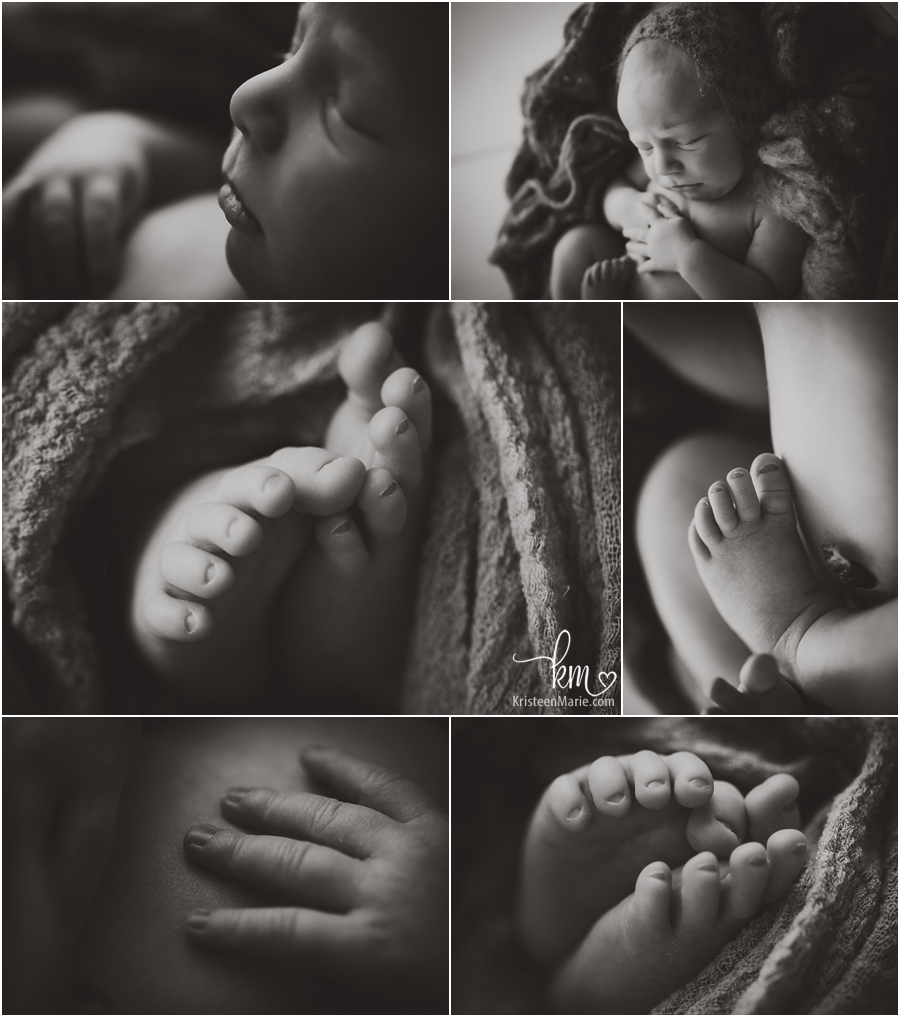 black and white images of baby features - hands, feet, and profile