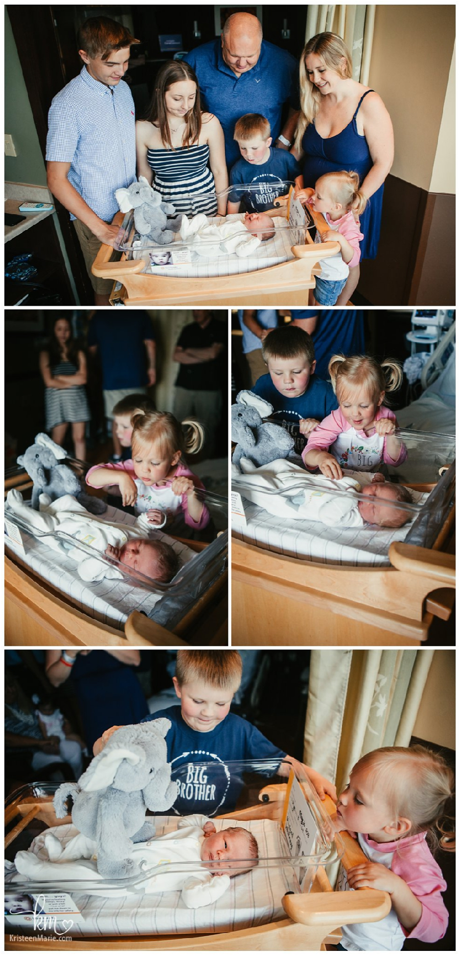 Fresh 48 session with siblings in hospital poses
