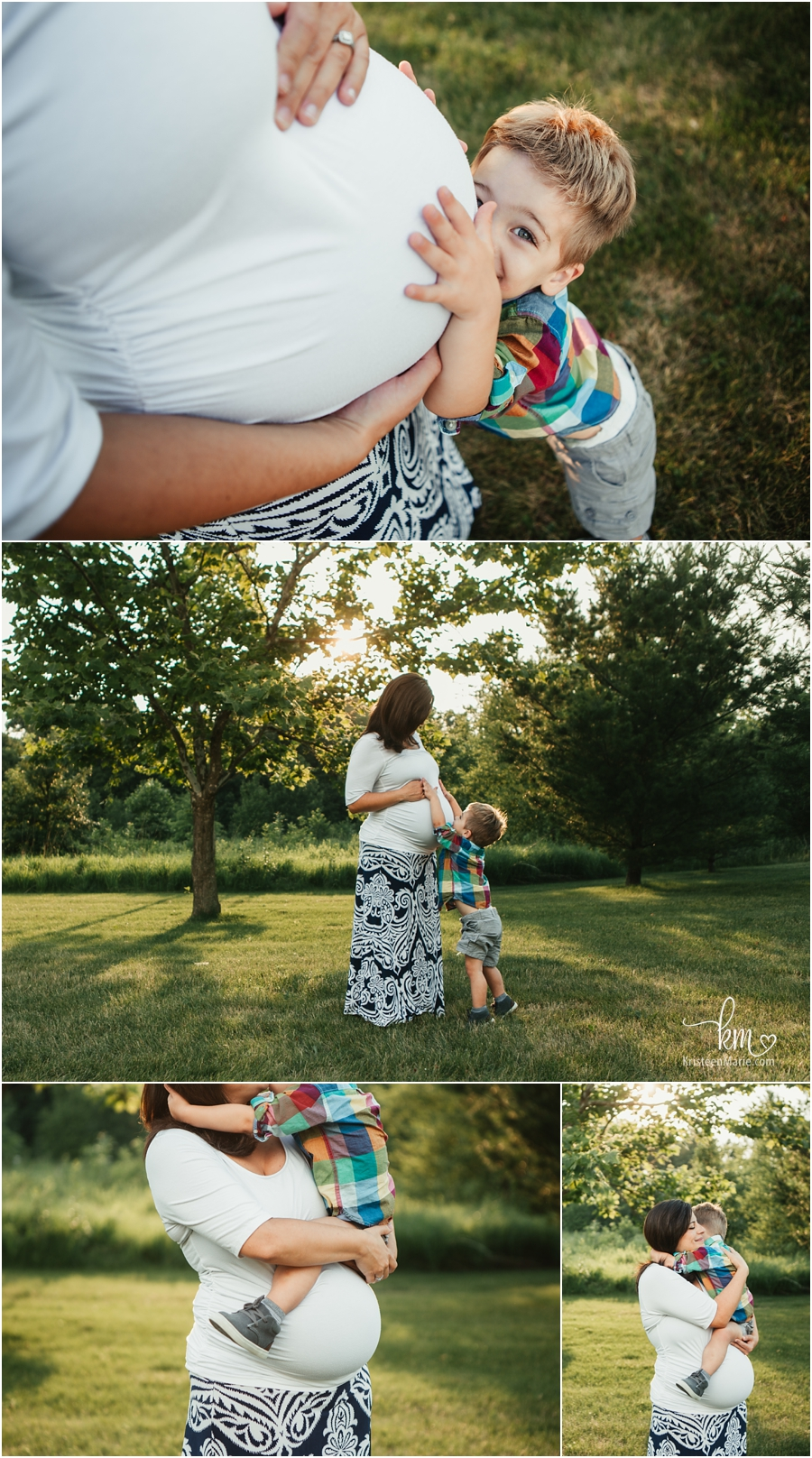 Mom and son maternity poses