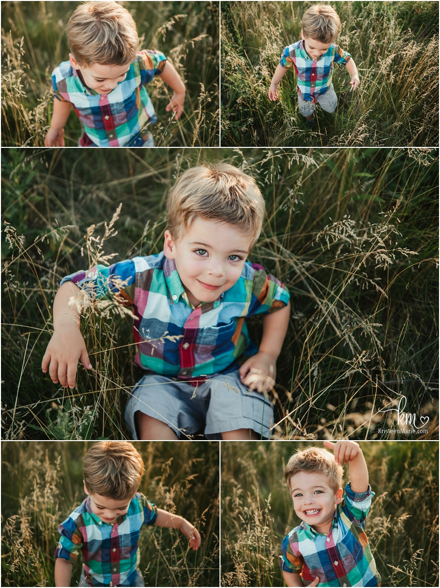 poses for a two-year-old - play time in a field