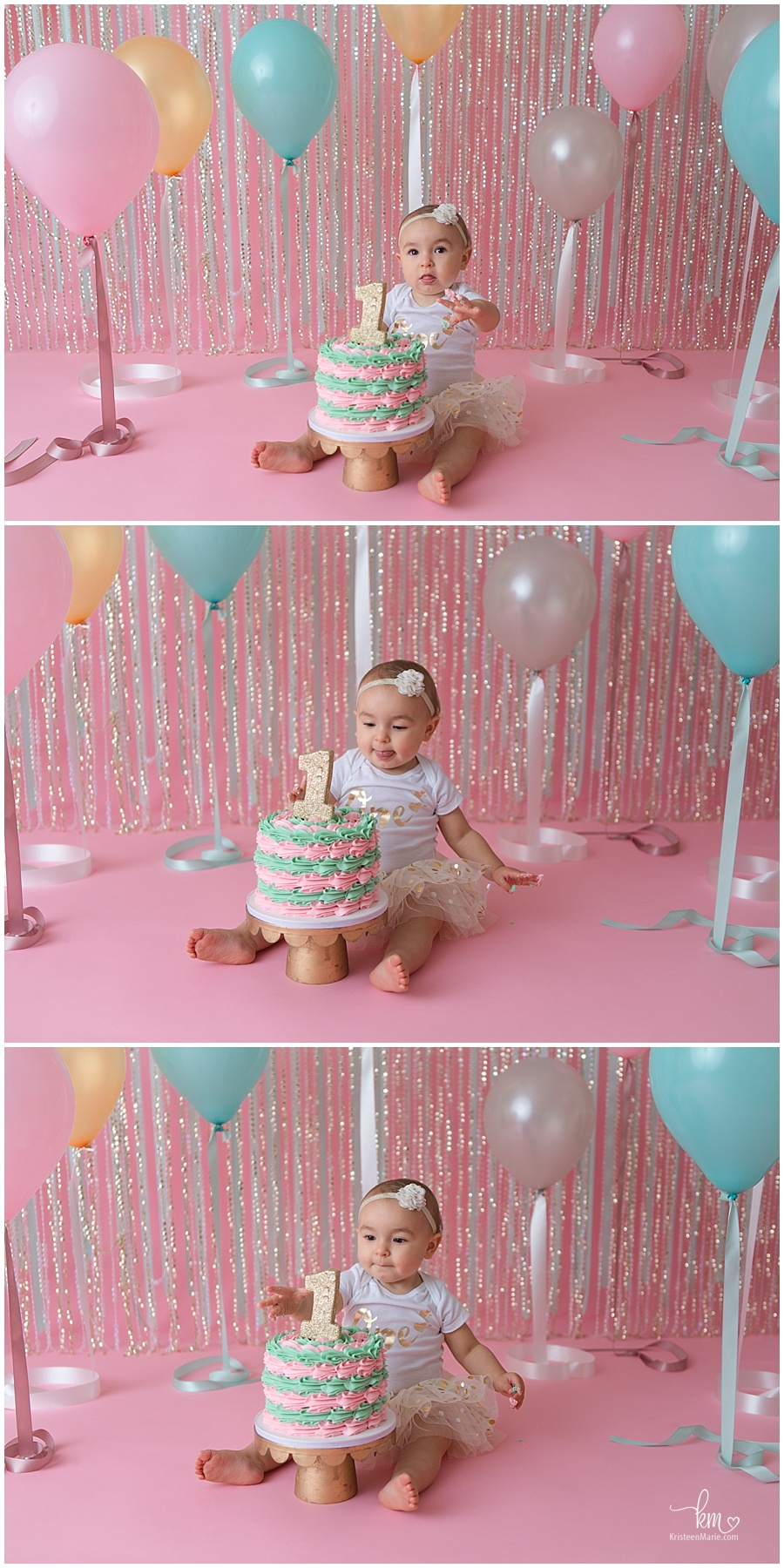 cake smash with balloons