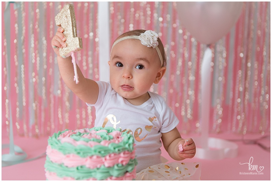 first birthday with pink and mint green