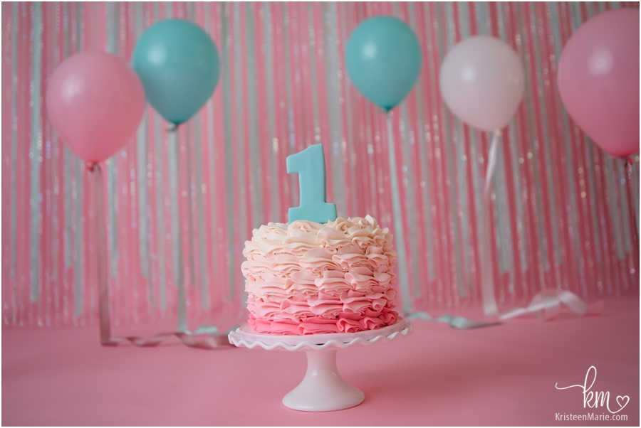 birthday smash cake - pink and teal