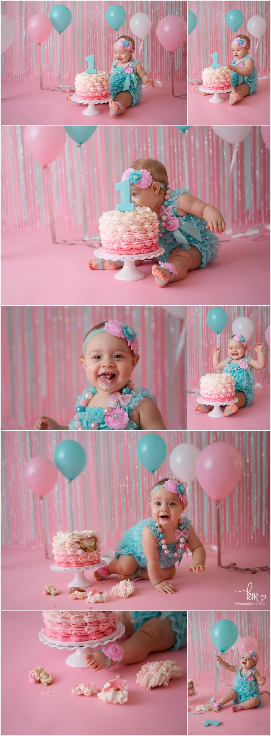 pink and teal 1st birthday smash cake - adorable cake smash session!