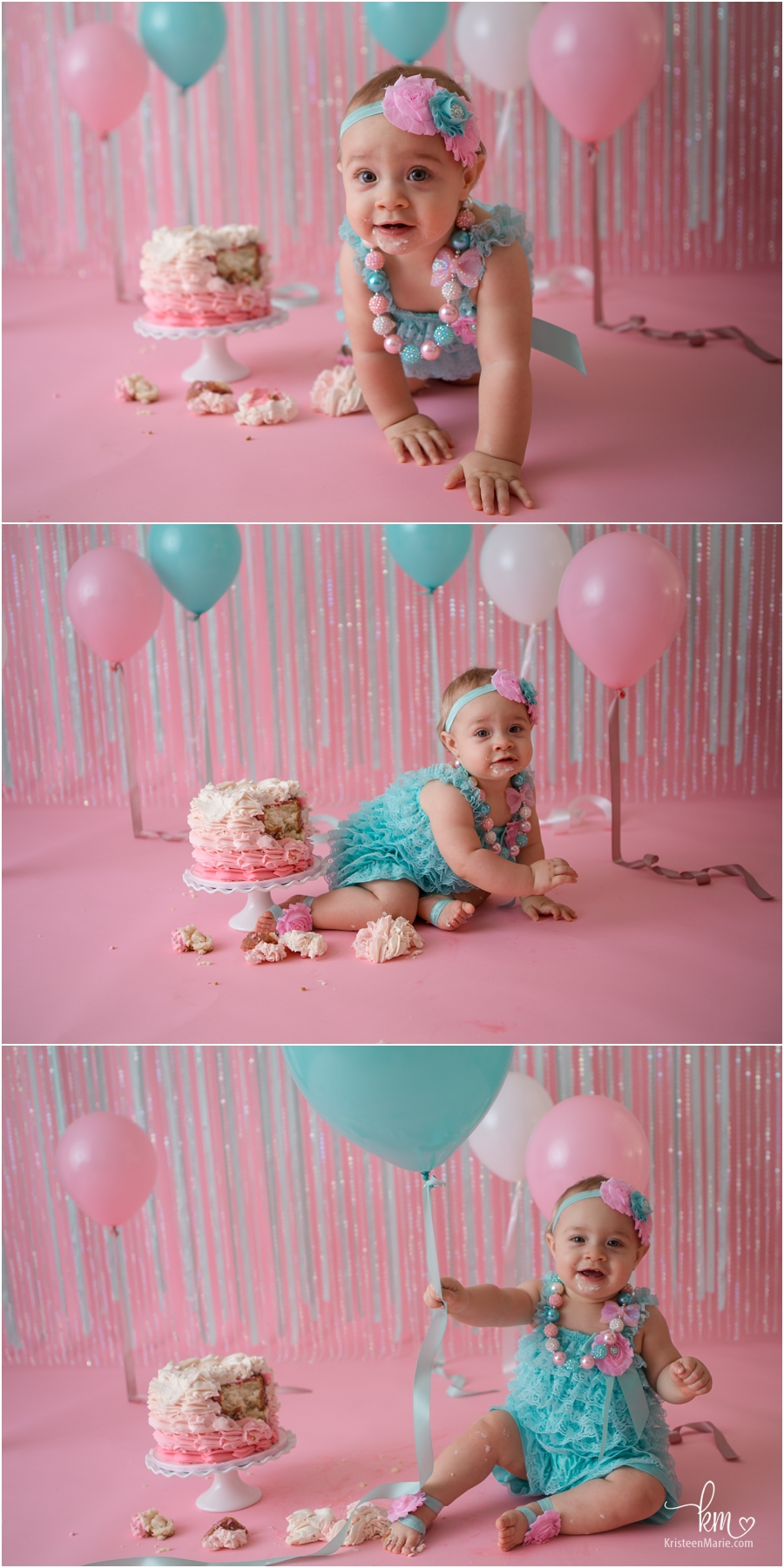 pink and teal ombre cake smash session for 1st birthday in Indianapolis, IN