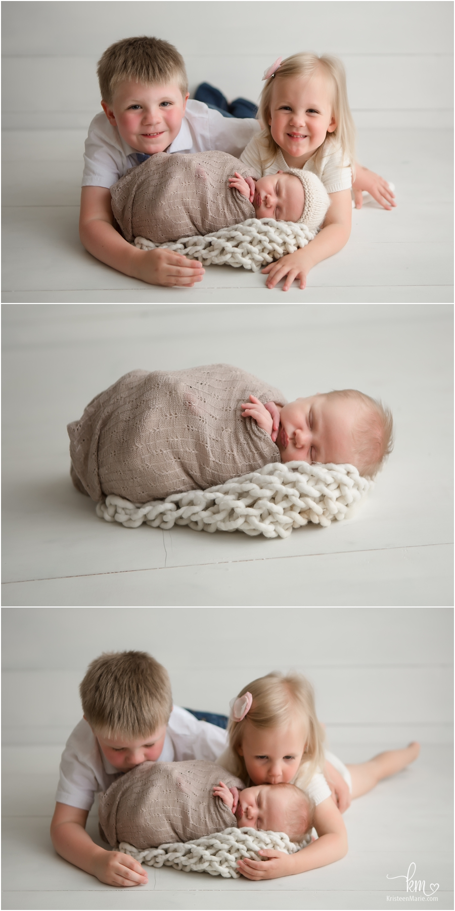 newborn baby with two siblings - siblings laying on stomach with wrapped baby pose