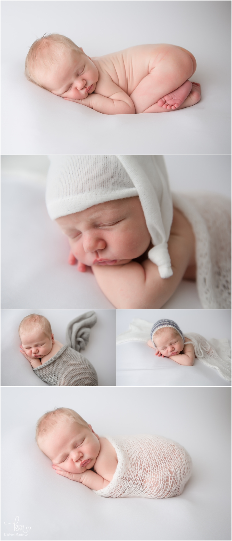 sleeping newborn baby in whites and cream