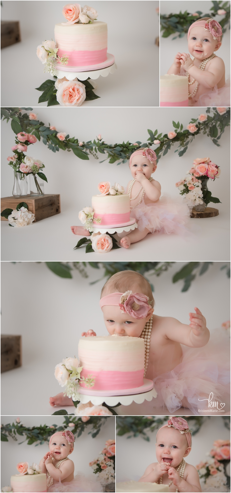 pink and peach floral flower cake smash - 1st birthday pictures