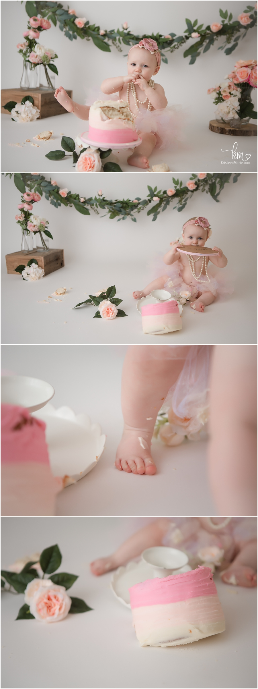 pink floral cake smash session for 1st birthday - adorable girl theme