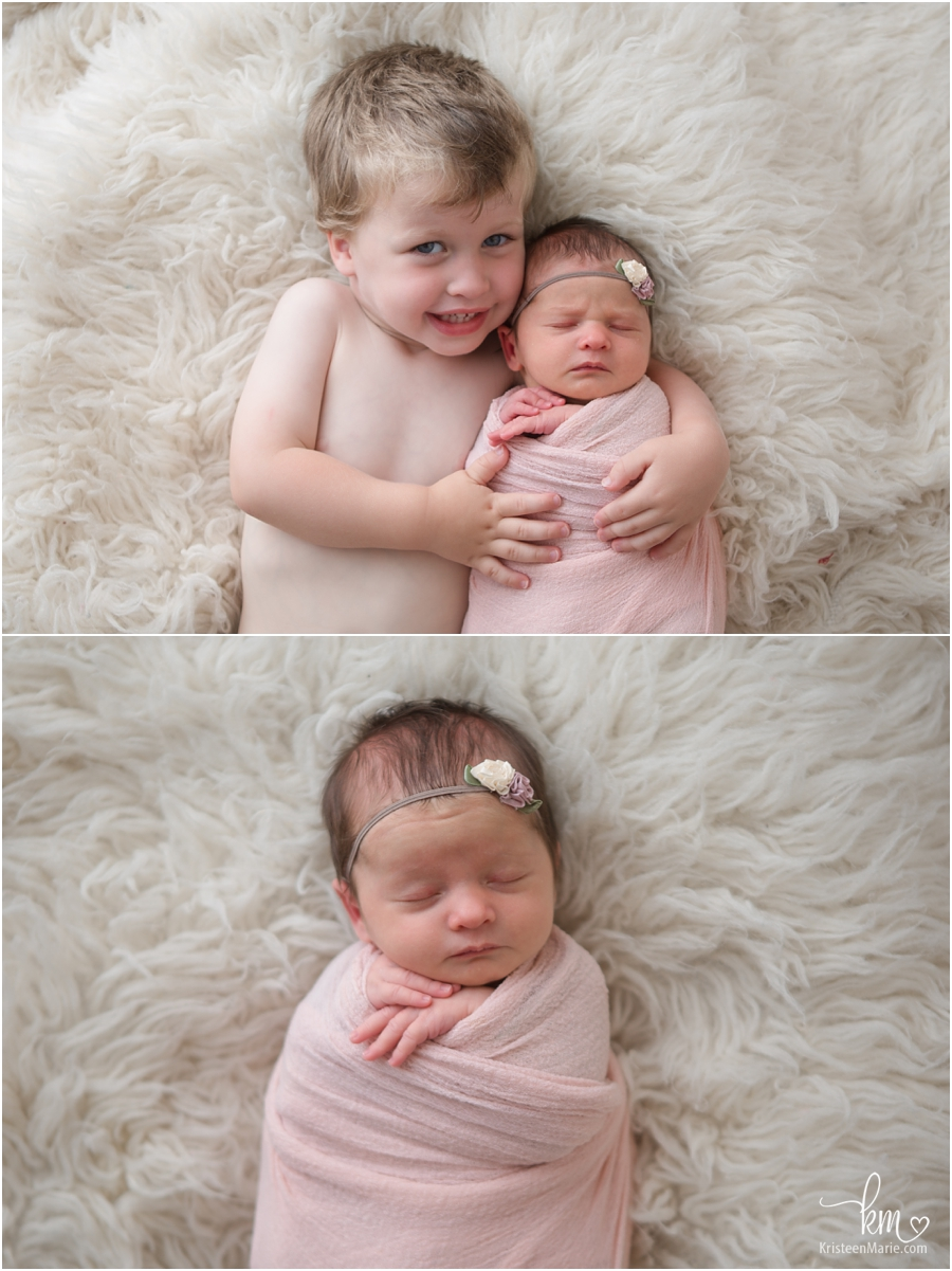 Siblings - newborn baby and brother