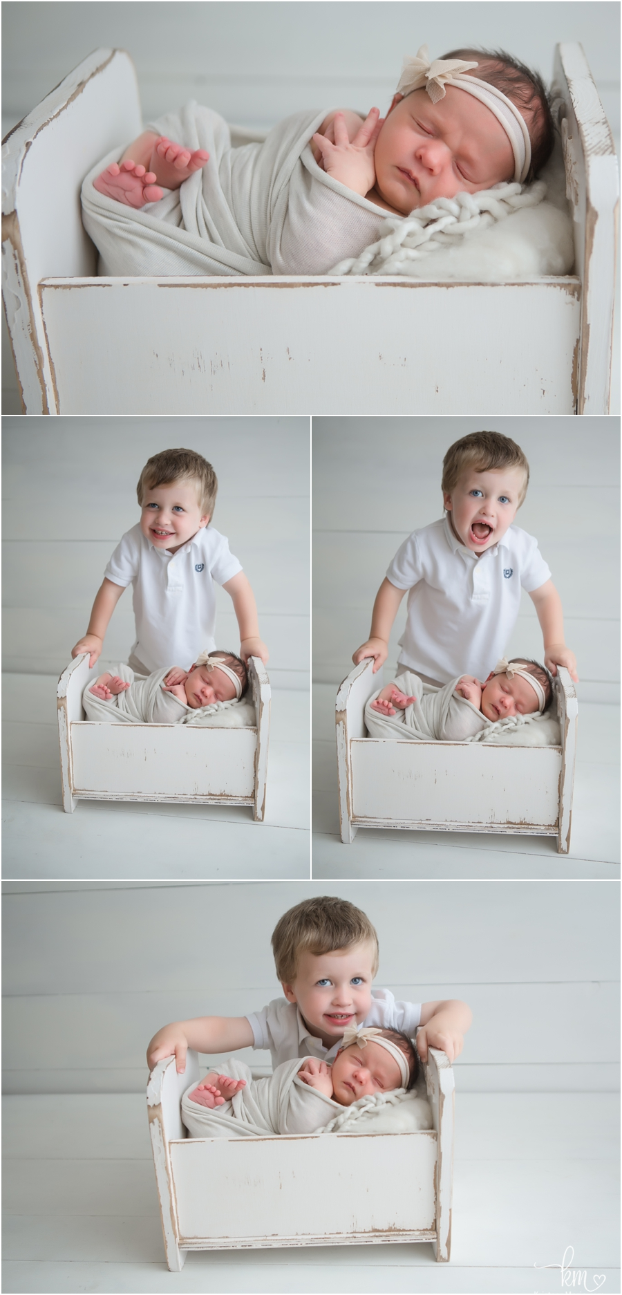 big brother and baby sister on whtie - Indianapolis newborn photos