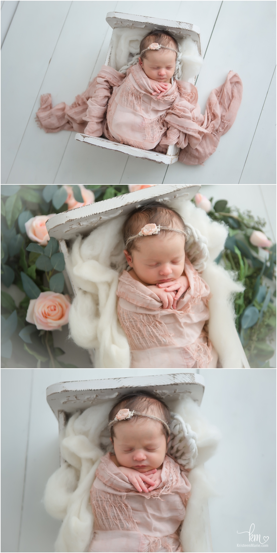 Sleeping newborn baby girl with peach pink florals - Indainapolis Newborn Photography