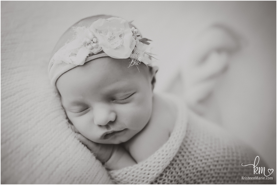 black and white newborn picture - Indianapolis photographer