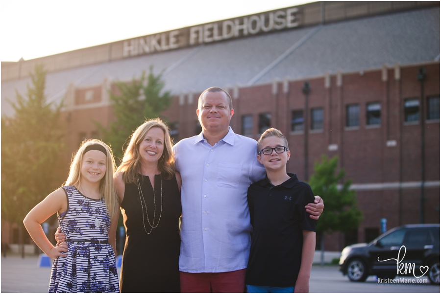 family in front of Hinkle Fieldhosue