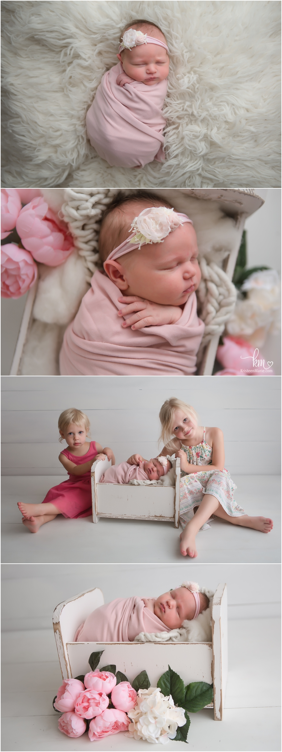 Newborn photography in Indianapolis, IN - siblings and newborn baby in studio