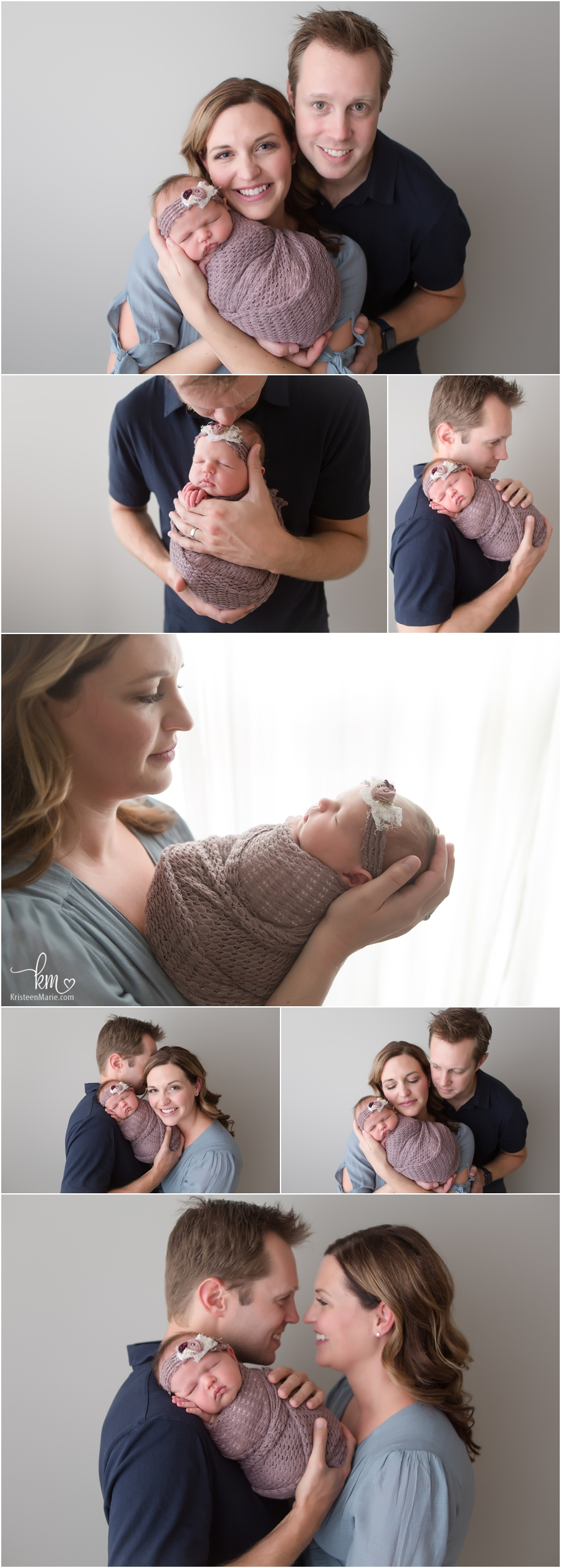 Whole family in studio for newborn pictures in Indianapolis, Indiana - family poses