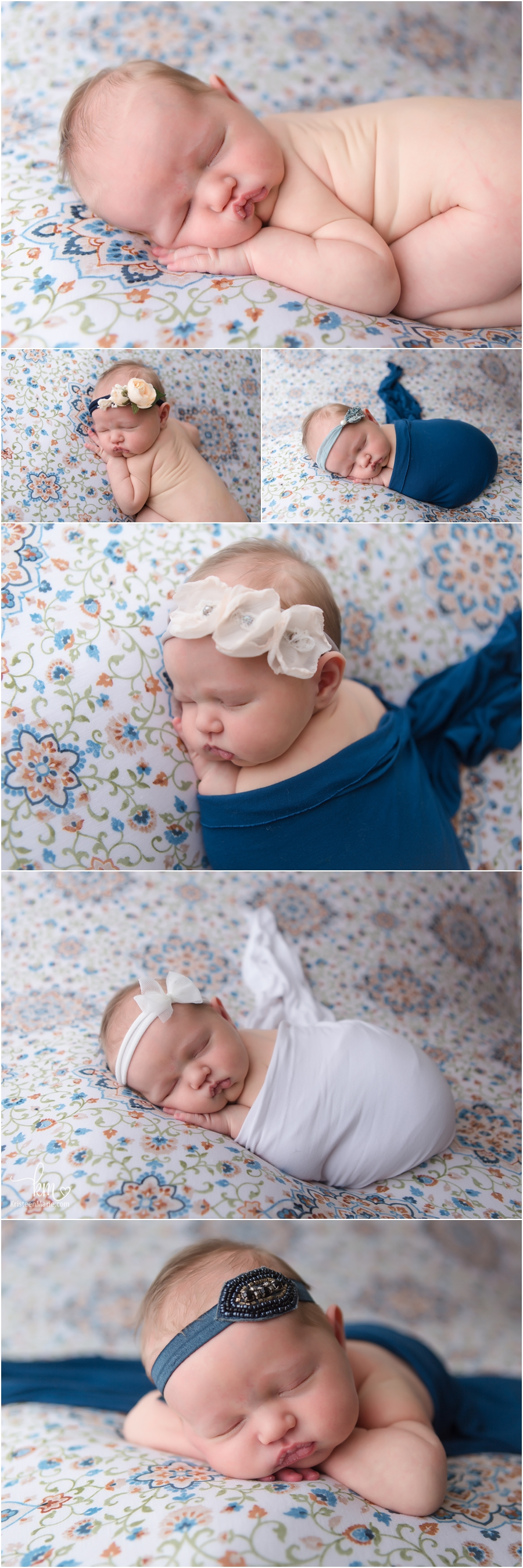 newborn baby girl in blue and white boho feel newborn pictures