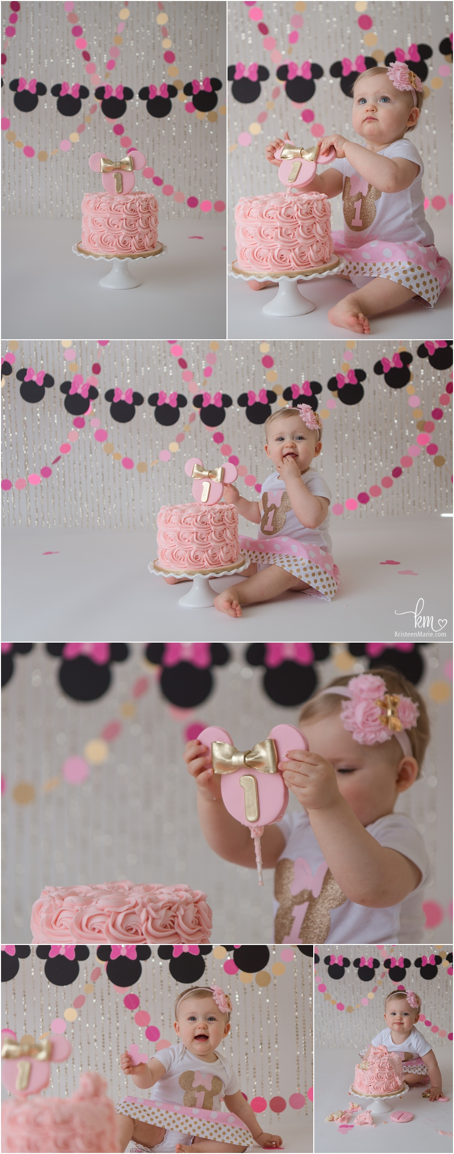 Minnie Mouse cake smash session for 1st birthday - pink and gold