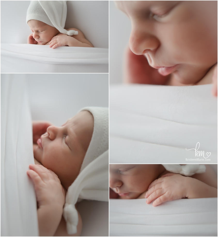 newborn photography in all white - very classic