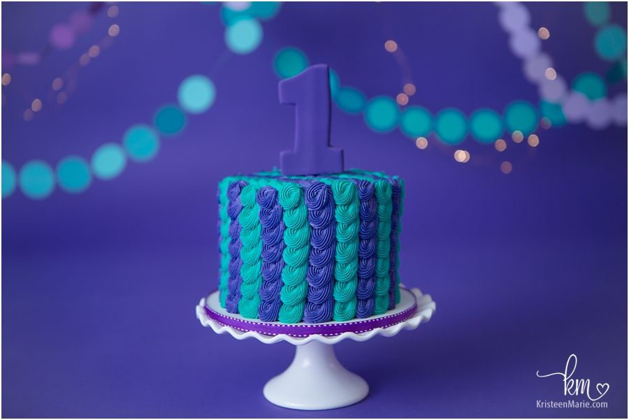 Purple and teal 1st birthday cake