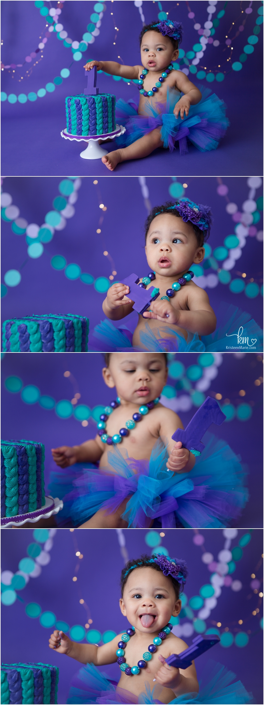 purple and teal 1st birthday cake smash photography