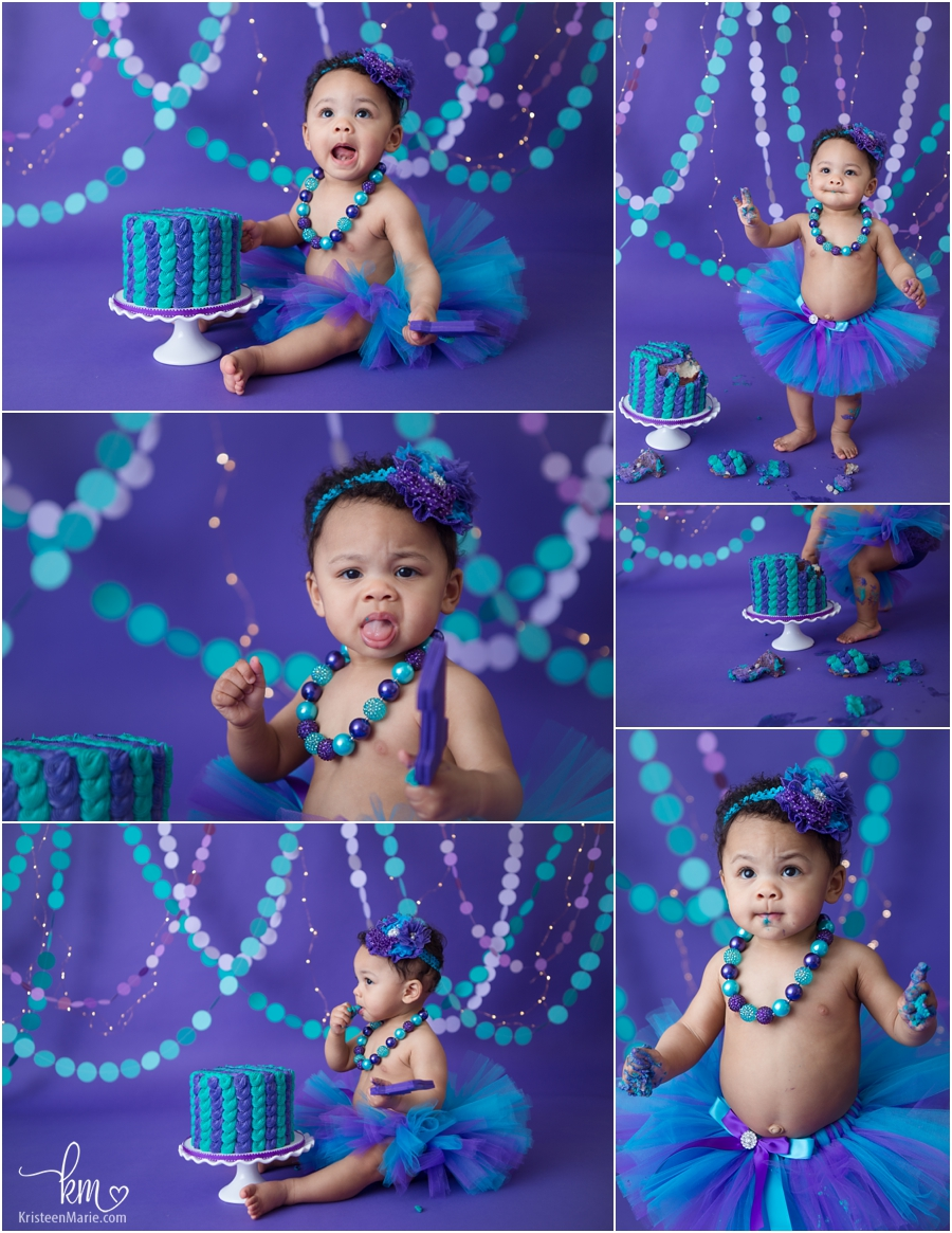 cake smash session - purple and teal with twinkle lights