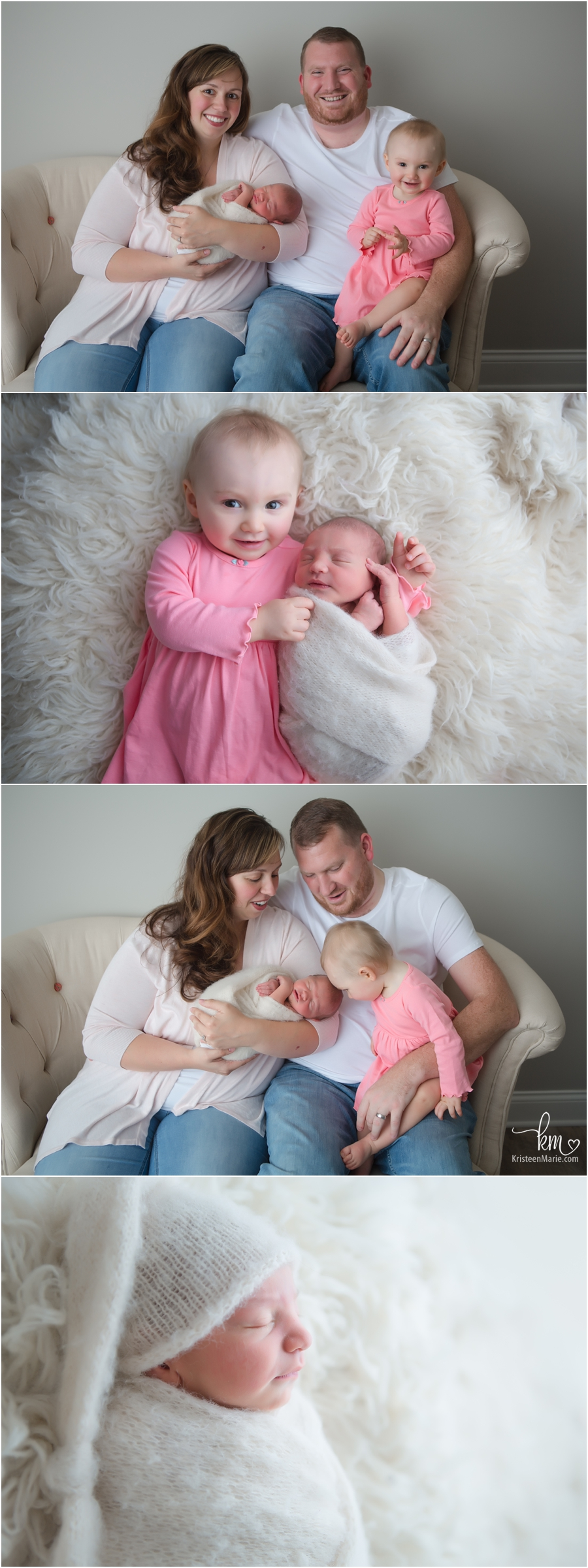 whole family in Indianapolis in photography studio with newborn baby