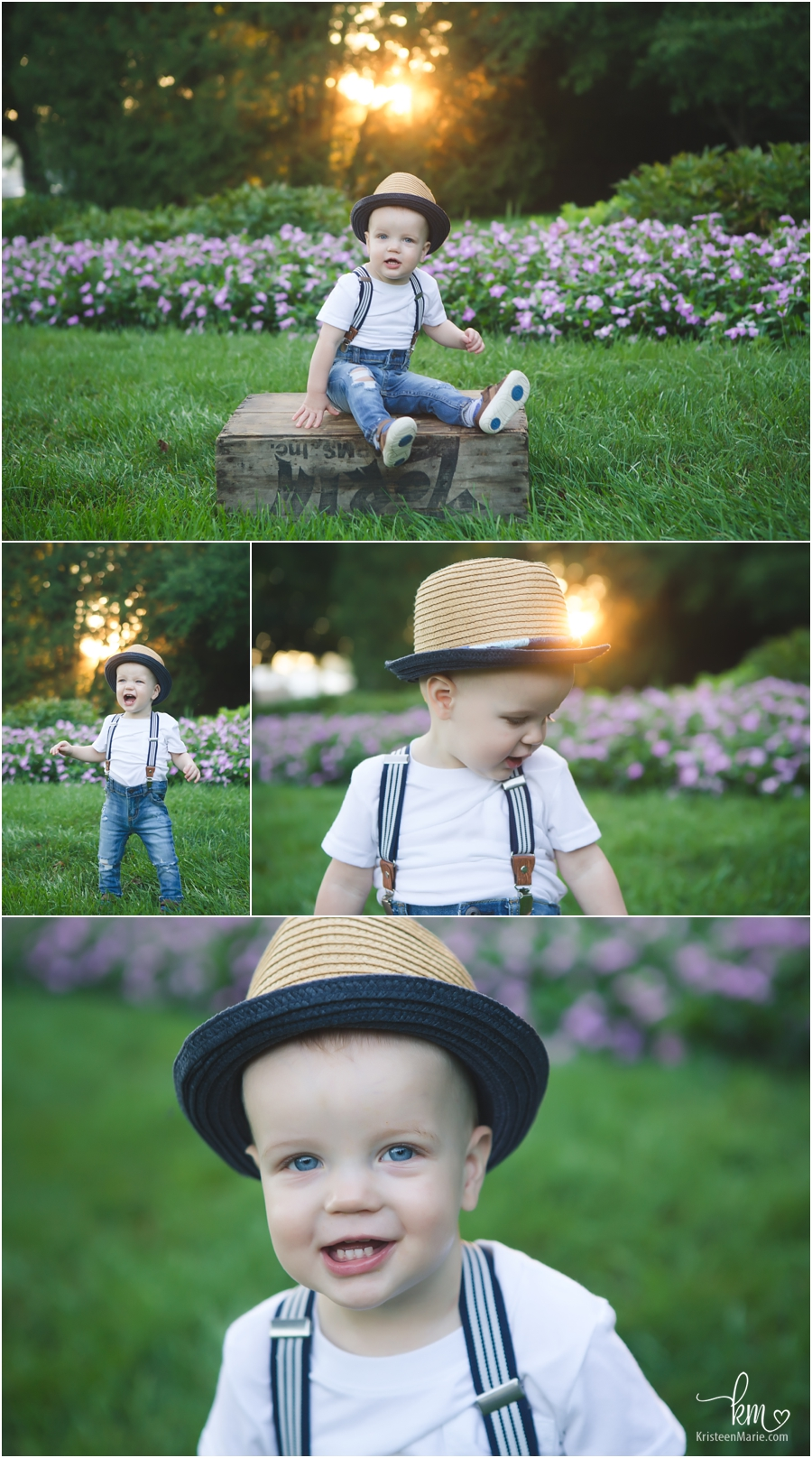 golden sunrise light and a one-year-old outdoor photography in Indianapolis, IN