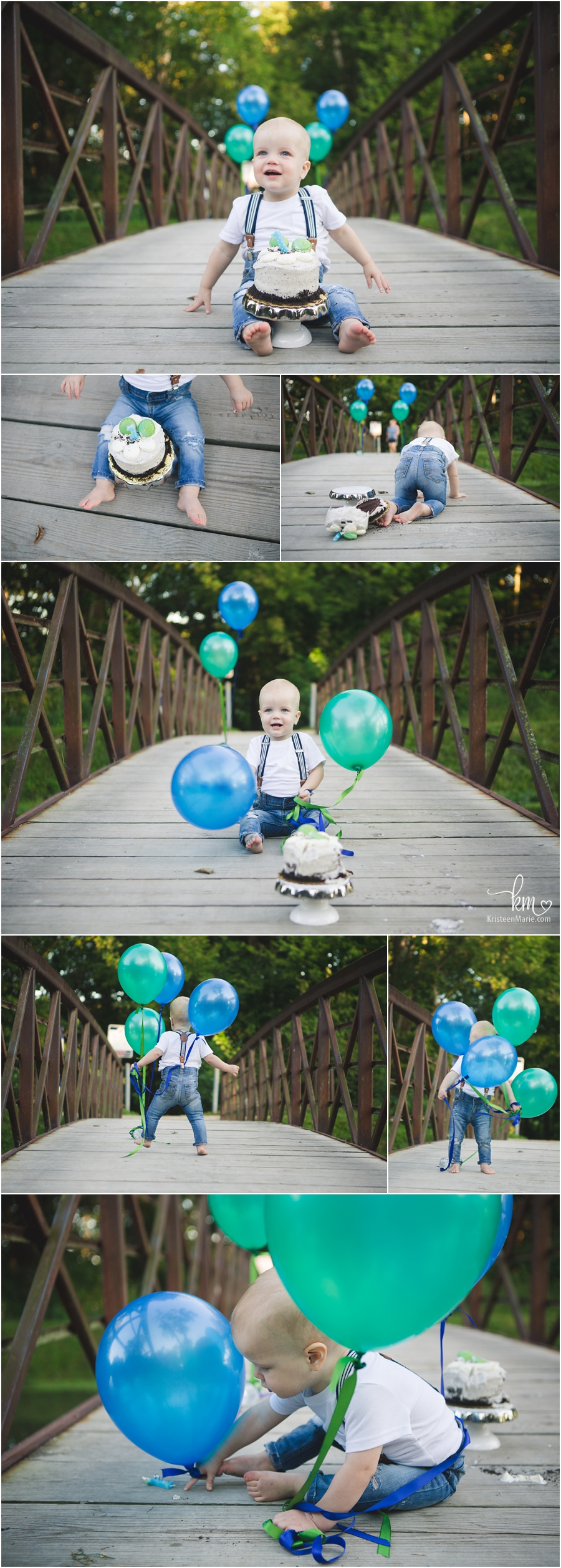 blue and teal cake smash pictures outdoors with baloons