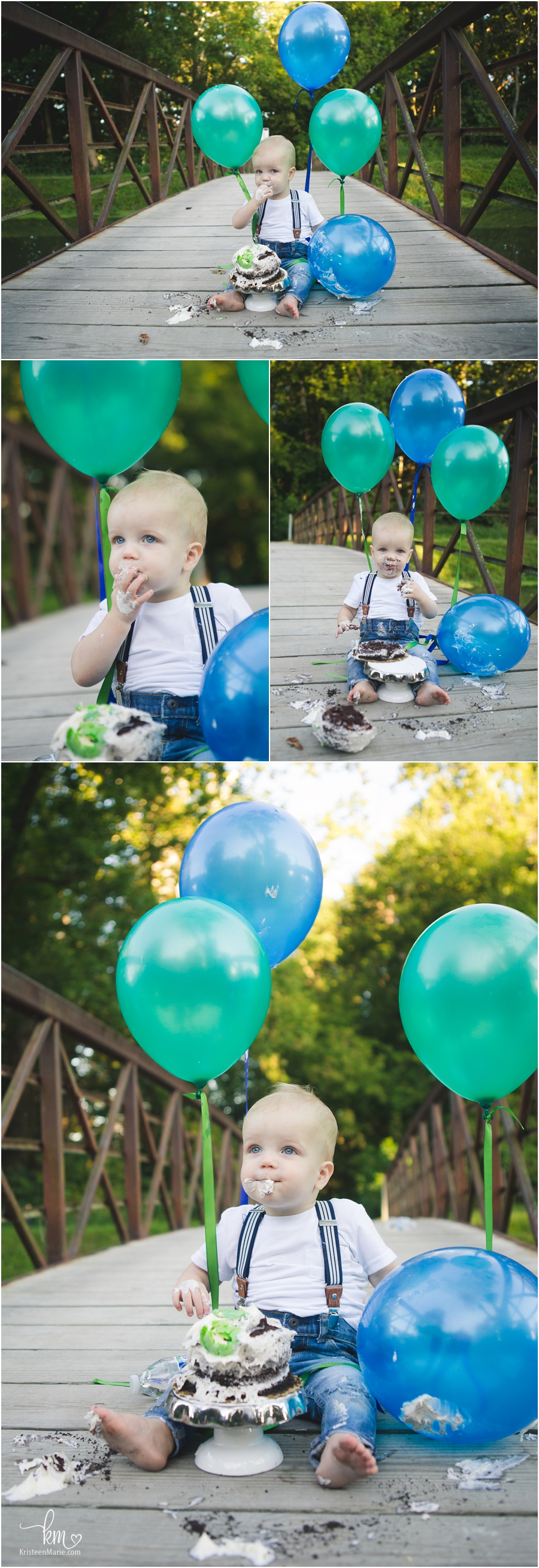 outdoor cake smash session on a bridge - teal and blue theme for boy