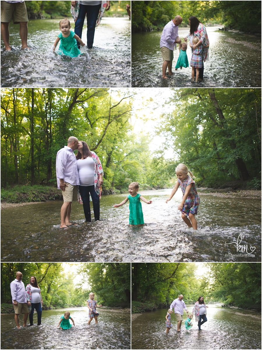 creek side maternity photography in Indianapolis, IN
