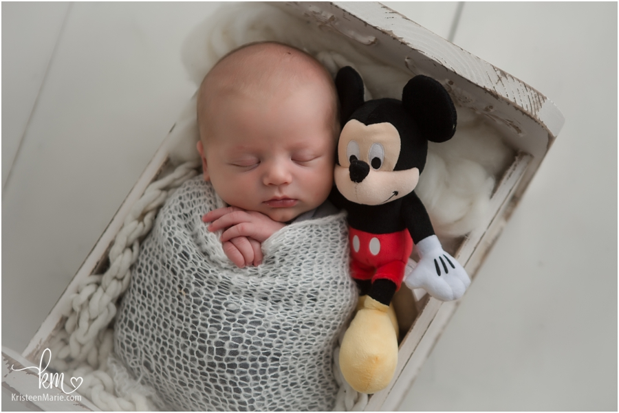 Mickey and baby sleeping newborn picture