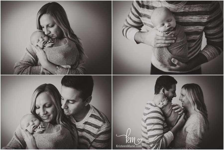 family newborn pictures in black and white - family from Zionsville, IN