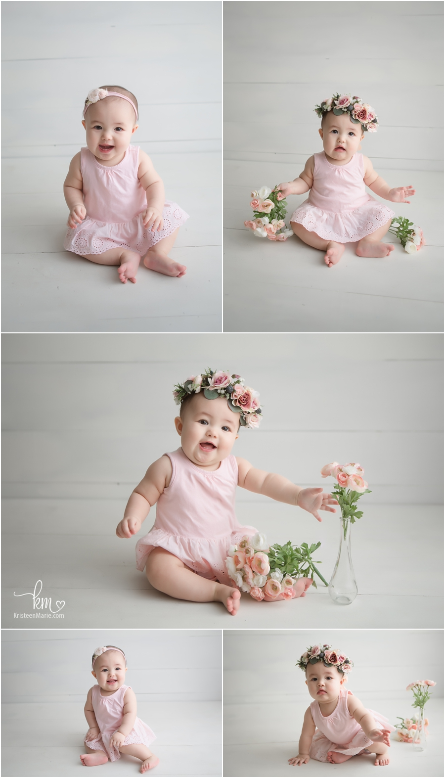 pretty in pink sitter session with pink flowers - Indianapolis Photographer
