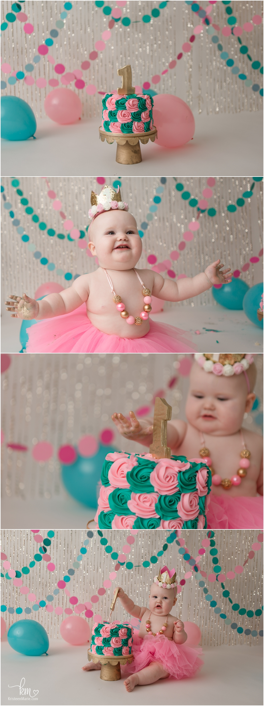 pink and teal cake smash set-up - 1st birthday party theme