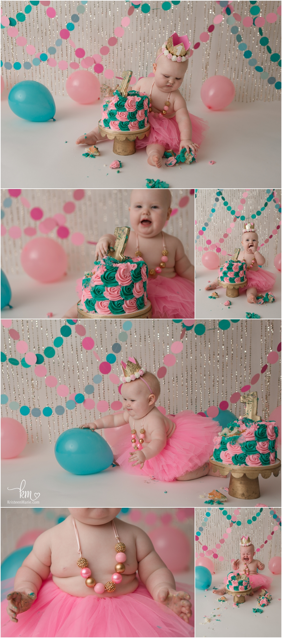 Pink and teal 1st birthday pictures - cake smash photography in Indianapolis, IN